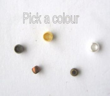 1.5mm to 2mm ball crimps x 125. Pick a colour.
